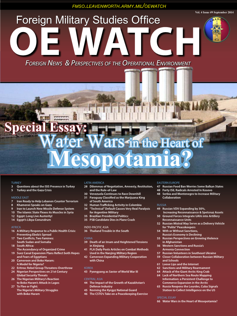 OE Watch, Vol 04, Issue 09, Sep 2014 - FMSO OE Watch Issues