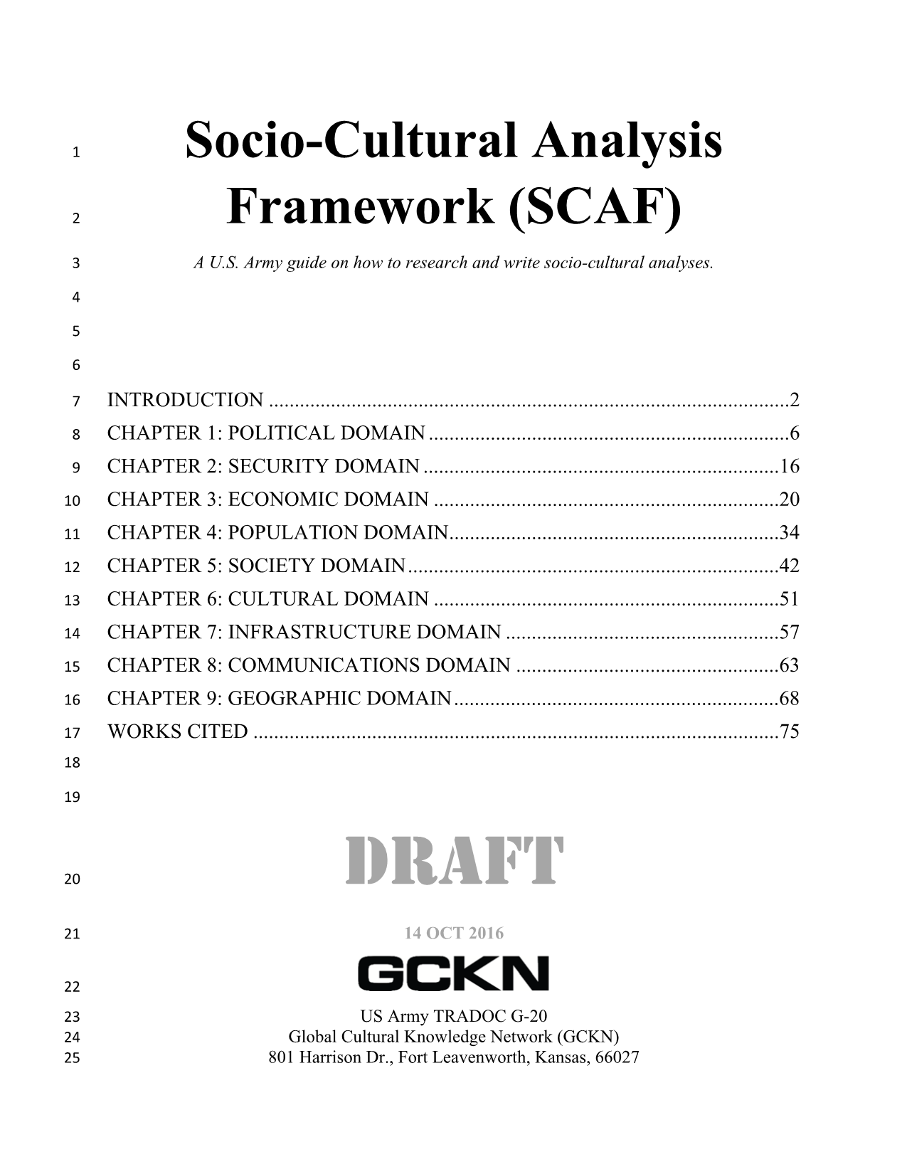 Socio-Cultural Analysis Framework (SCAF) A U S  Army guide