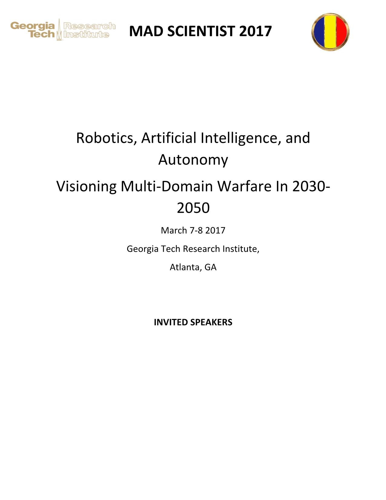 MS AI, Robotics, Autonomy GTRI Conference Speaker's Official Bios