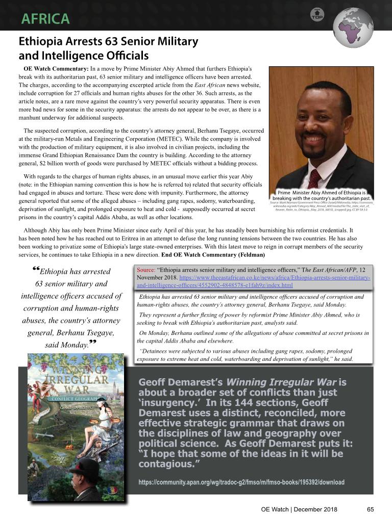 2018-12-01 Ethiopia Arrests 63 Senior Military and Intelligence